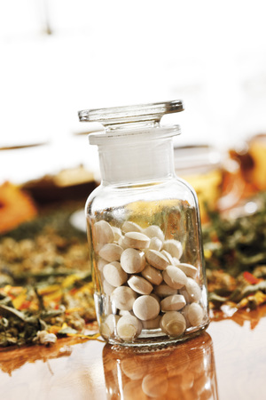 Homoeopathic Pills In Apothecary Flask, Close-Up