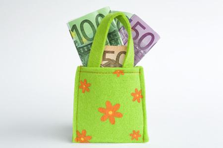 Euro Notes In Shopping Bag