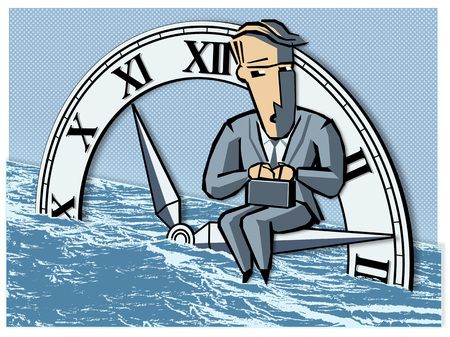 joblessness: Employee Sitting On Clock Needles, Water Rising