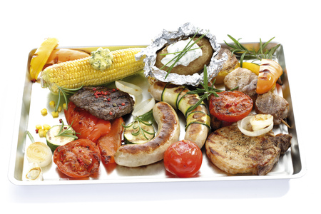 Grilled Meat,Sausage And Vegetables On Tray
