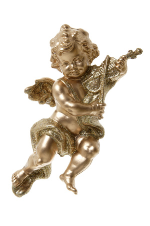 Golden Putto Playing Violin, Close Up
