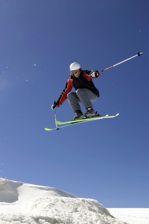 Italy, Tyrol, Monte Rosa, Freeride, Man Jumping On Skis LANG_EVOIMAGES