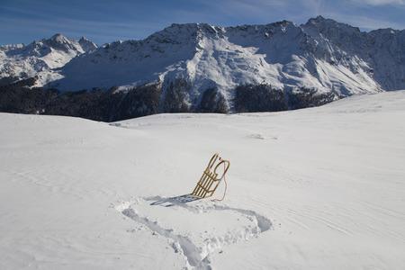 Switzerland, Graubuenden, Savognin, Winter Scenery With Sledge LANG_EVOIMAGES
