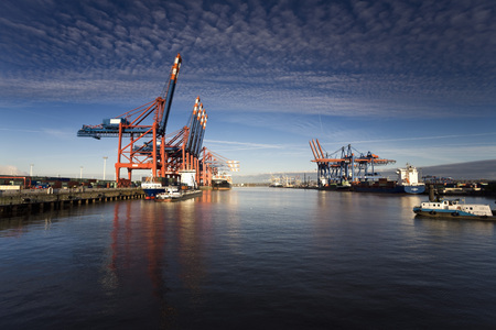 unloading: Germany, Hamburg, Waltershof, Container Terminal With Ships