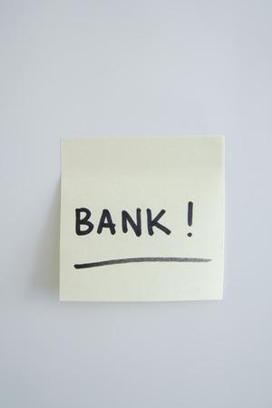 Adhesive Note Saying Bank