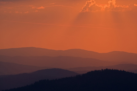 panoramas: Germany,Bavarian Forest,Lusen At Sunset
