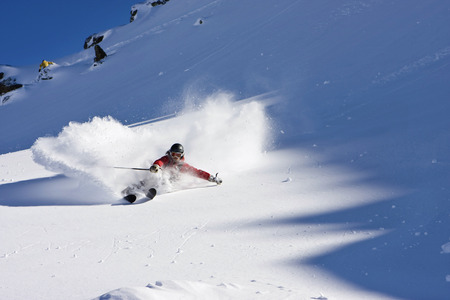 move in: Austria, Tyrol, Zillertal, Gerlos, Freeride, Man Skiing Downhill