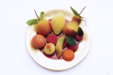 Marzipan Fruits On Plate LANG_EVOIMAGES