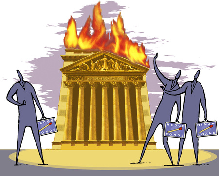 Illustration, New York Stock Exchange Building Bursting Into Flames, Stockbrokers Watching The Scene