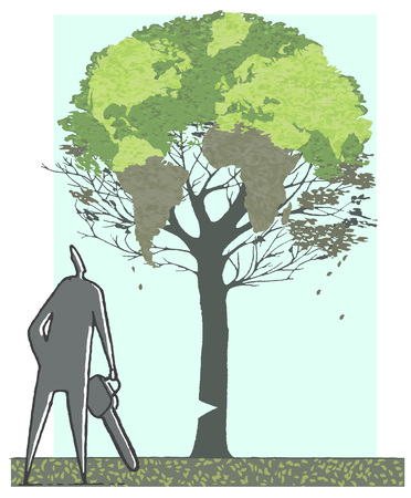 Illustration, Man With Motor Saw Watching A Damaged Tree