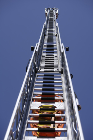 Germany, Bavaria, Penzberg, Extended Fire Truck Ladder