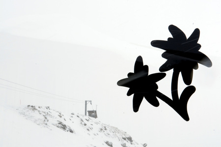 Switzerland,Arosa,Flower-Shaped Label On Glass Pane,Ski Lift In The Background