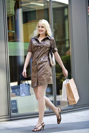 Young Woman Going Window Shopping