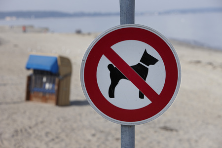 Germany,Baltic Sea,Timmendorfer Strand,Dogs Forbidden Sign,Close-Up LANG_EVOIMAGES