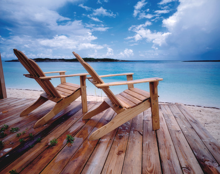 seating area: Bahamas, Deck Chairs On Beach