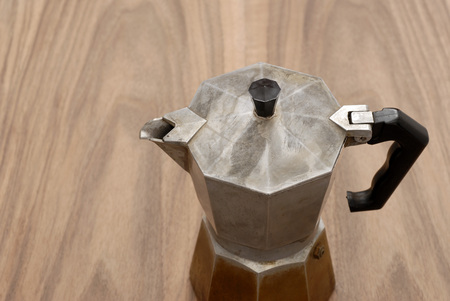 Espresso Maker On Wooden Table, Elevated View