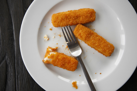 Fish Fingers On Plate, Elevated View
