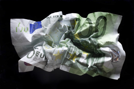 Crumpled 100 Euro Bank Note, Close-Up