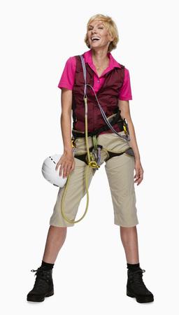 Mujer vestida como montañista, retrato
