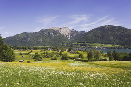 Austria, Lake Wolfgangsee, Schafberg Mountain In Background