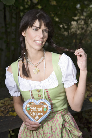 looking for love: Bavarian Girl With Gingerbread Heart, Portrait