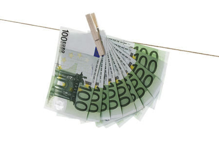 100 Euro Bank Notes Hanging On Clothesline