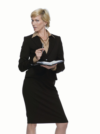 Blonde Business Woman With Diary, Portrait