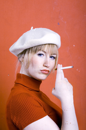 provoking: Young Woman Smoking, Portrait