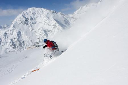Austria, Tyrol, Stubai Valley, Man Skiing