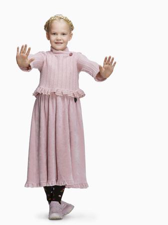 Blond Girl (6-8) In A Dress, Gesturing, Portrait