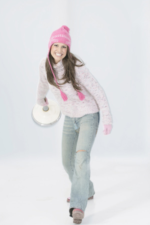 Young Woman Curling, Portrait
