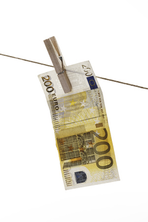 200 Euro Bank Note Hanging On Clothesline
