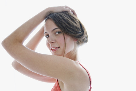 provoking: Young Woman, Hands On Head, Smiling, Portrait