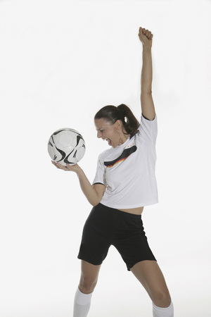 Portrait Of A Woman, Holding Soccer Ball, Cheering