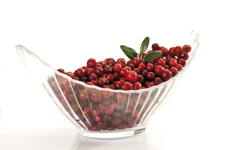 Cranberries In Glass Bowl, Close-Up