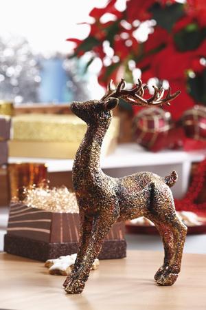 Christmas Decoration,Elk Figurine On Table LANG_EVOIMAGES