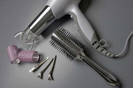 Hairbrush,Hair Dryer,Hair Clips And Curlers,Elevated View