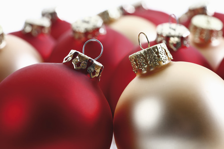 Christmas Decoration,Red And Golden Christmas Baubles,Close-Up