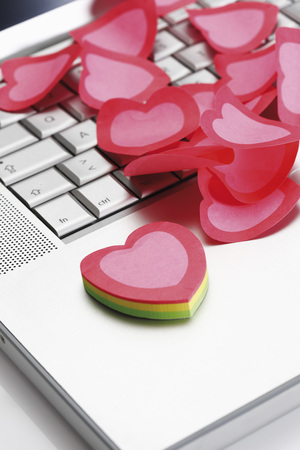 Heart-Shaped Notes On Notebook,Elevated View