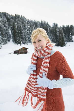 Italy, South Tyrol, Seiseralm, Blonde Woman, Smiling, Portrait LANG_EVOIMAGES