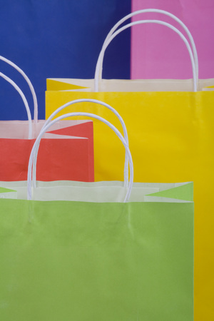 Multicoloured Paper Shopping Bags, Full Frame, Close-Up