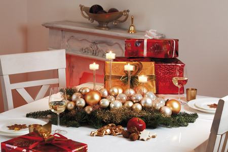 Christmas Table Decoration And Christmas Presents