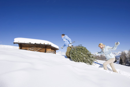 Italy, South Tyrol, Seiseralm, Couple Carrying Christmas Tree In Snow LANG_EVOIMAGES