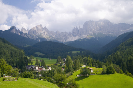 Italy,South Tyrol,Village Rosengarten,Mountains In Background,Elevated View