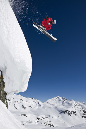 Austria,Salzburger Land,Gerlos,Skier Jumping From Mountain,Side View,Elevated View