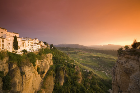 Spain,Andalusia,Ronda With Afterglow LANG_EVOIMAGES
