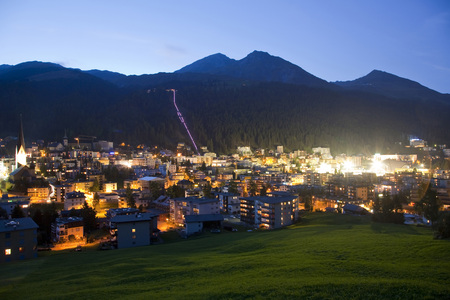 Switzerland,Grisons,Davos In The Evening