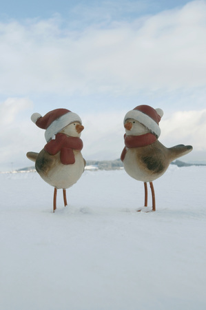 Clay Ducks With Santa Hat Standing In Snow,Wnter