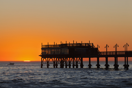 Africa,Namibia,Namib Desert,Swakopmund,View Of Jetty With Atlantic Ocean At Sunset