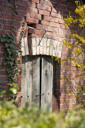 Germany,Brick House With Old Door And Vineyard
